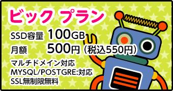 ビックプラン[容量:20GB/月額500円/マルチドメイン:10個/MySQL:5/転送量:課金なし]